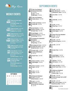 Styx River September 2018 Activity Calendar